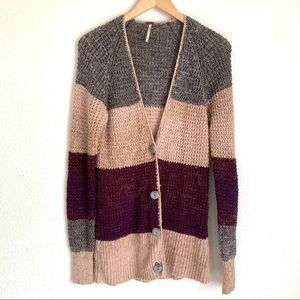 Free people color block open knit button cardigan